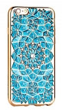 Totu Design Diamond iPhone 6 / 6S Rose Gold Kenarl� Ta�l� Mavi Silikon K�l�f