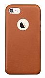 Totu Design Genuine Leather iPhone 7 / 8 Gerçek Deri Kahverengi Rubber Kılıf