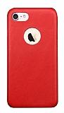 Totu Design Genuine Leather iPhone 7 / 8 Gerçek Deri Kırmızı Rubber Kılıf