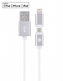 Totu Design Glory Lightning & Micro USB Silver Data Kablosu 1,20m