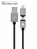 Totu Design Glory Lightning & Micro USB Dark Silver Data Kablosu 1,20m