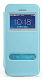 Totu Design iPhone 5 / 5S Standl� �ift Pencereli Mavi Deri K�l�f