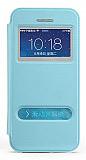 TotuDesign iPhone SE / 5 / 5S Standl� �ift Pencereli Mavi Deri K�l�f