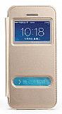 Totu Design iPhone 5 / 5S Standl� �ift Pencereli Gold Deri K�l�f