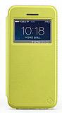 Totu Design iPhone SE / 5 / 5S Standlı Pencereli Sarı Deri Kılıf
