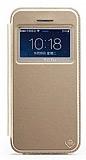 Totu Design iPhone 5 / 5S Standl� Pencereli Gold Deri K�l�f