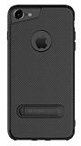 Totu Design iPhone 6 Plus / 6S Plus / 7 Plus Standlı Karbon Siyah Silikon Kılıf