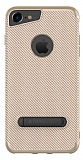 Totu Design iPhone 6 Plus / 6S Plus / 7 Plus Standlı Karbon Gold Silikon Kılıf