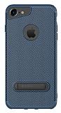 Totu Design iPhone 6 Plus / 6S Plus / 7 Plus Standlı Karbon Lacivert Silikon Kılıf