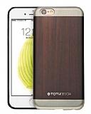 Totu Design iPhone 6 Plus / 6S Plus Ah�ap G�r�n�ml� Kahverengi Silikon K�l�f