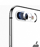 Totu Design iPhone 7 Plus / 8 Plus Silver Metal Kamera Koruma Yüzüğü ve Camı