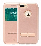 Totu Design Touch iPhone 7 Plus Manyetik Kapaklı Pencereli Rose Gold Deri Kılıf