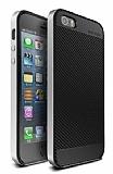 Totu Design iPhone SE / 5 / 5S Silver Kenarl� Siyah Karbon Silikon K�l�f