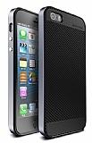Totu Design iPhone SE / 5 / 5S Dark Silver Kenarl� Siyah Karbon Silikon K�l�f