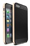 Totu Design iPhone SE / 5 / 5S Gold Kenarl� Siyah Karbon Silikon K�l�f
