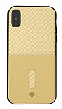 Totu Design Jazz Series iPhone X / XS Kartlıklı Gold Rubber Kılıf