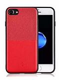 Totu Design Jazz Series Slot iPhone 7 / 8 Kartlıklı Kırmızı Rubber Kılıf