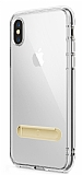 Totu Design Keen Series iPhone X / XS Standlı Gold Silikon Kılıf