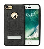 Totu Design King Series iPhone 7 / 8 Ahşap Görünümlü Siyah Kılıf