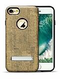 Totu Design King Series iPhone 7 / 8 Ahşap Görünümlü Kahverengi Kılıf