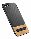 Totu Design King Series iPhone 7 / 8 Standlı Gold Rubber Kılıf