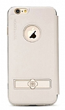 Totu Design Pleasure iPhone 6 / 6S Kapaklı Krem Deri Kılıf