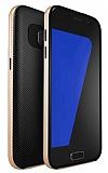 Totu Design Samsung Galaxy Note FE Gold Kenarlı Siyah Karbon Silikon Kılıf