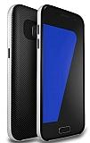 Totu Design Samsung Galaxy Note 7 Silver Kenarlı Siyah Karbon Silikon Kılıf