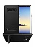 Totu Design Samsung Galaxy Note 8 Standlı Karbon Siyah Silikon Kılıf