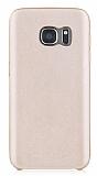 Totu Design Samsung Galaxy S7 Deri Görünümlü Gold Rubber Kılıf