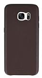 Totu Design Samsung Galaxy S7 edge Deri Görünümlü Kahverengi Rubber Kılıf