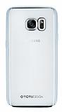 Totu Design Samsung Galaxy S7 Silver Kenarlı Şeffaf Silikon Kılıf