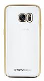 Totu Design Samsung Galaxy S7 Gold Kenarlı Şeffaf Silikon Kılıf