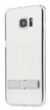 Totu Design Samsung Galaxy S7 Silver Standlı Şeffaf Silikon Kılıf