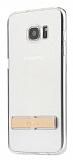 Totu Design Samsung Galaxy S7 Gold Standlı Şeffaf Silikon Kılıf