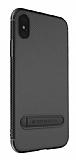 Totu Design Slim Series iPhone X Standlı Karbon Siyah Silikon Kılıf