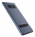 Totu Design Slim Series Samsung Galaxy Note 8 Standlı Karbon Lacivert Silikon Kılıf