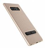 Totu Design Slim Series Samsung Galaxy Note 8 Standlı Karbon Gold Silikon Kılıf