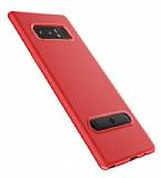 Totu Design Slim Series Samsung Galaxy Note 8 Standlı Karbon Kırmızı Silikon Kılıf