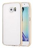 Totu Design Endless Samsung i9800 Galaxy S6 Gold Metalik Kenarlı Şeffaf Silikon Kılıf
