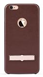 Totu Design iPhone 6 / 6S Skin Series Deri Görünümlü Kahverengi Rubber Kılıf