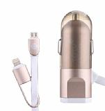 Totu Design Gold Lightning & Micro USB Kablo + Araç Şarj Aleti 1.20m