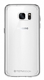 Totu Design Samsung Galaxy S7 Silikon Kenarlı Şeffaf Rubber Kılıf