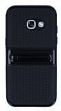 Samsung Galaxy A3 2017 Standlı Çizgili Siyah Silikon Kılıf