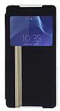 Sony Xperia Z3 Pencereli Standl� Siyah Deri K�l�f