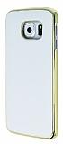 Uniico Samsung Galaxy S6 Edge Metal Kenarl� Beyaz Deri K�l�f