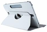 Universal 10 inch 360 Derece D�ner Standl� Tablet Beyaz Deri K�l�f
