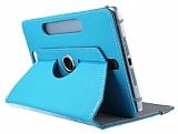 Universal 10 inch 360 Derece D�ner Standl� Tablet Mavi Deri K�l�f