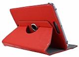 Universal 10 inch 360 Derece D�ner Standl� Tablet K�rm�z� Deri K�l�f