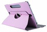 Universal 10 inch 360 Derece D�ner Standl� Tablet Pembe Deri K�l�f